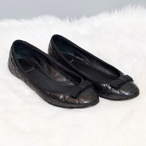 Dior Cannage Quilted Bow Ballerina Flats Black